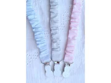 Pacifier Holder Frilly Stripes Cotton Fabric + White Bunny Clip (Choose a Color)