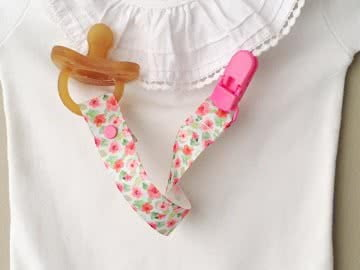 Pacifier Holder | Light Blue with Hibiscus + White Clip LIMITED EDITION