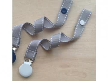 Pacifier Holder |  Grey White Stich + White Clip