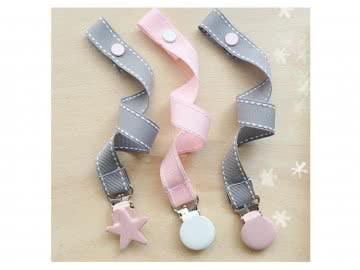 Pacifier Holder |  Grey White Stich + Pink Star Clip