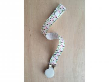Pacifier Holder | Flamingos + White Clip