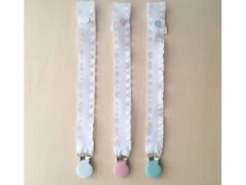 Pacifier Holder | White Ruffle + Clip (Choose a Color)