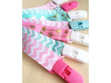 Pacifier Holder | MINT, GOLD AND PINK + Plastic Clip (Choose a Color)