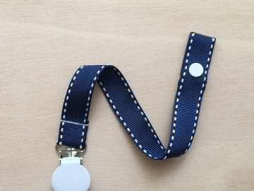 Pacifier Holder | Navy Stich + White Clip