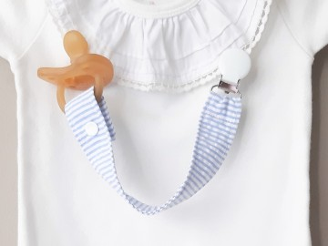 Pacifier Holder RAILROAD STRIPE BLUE