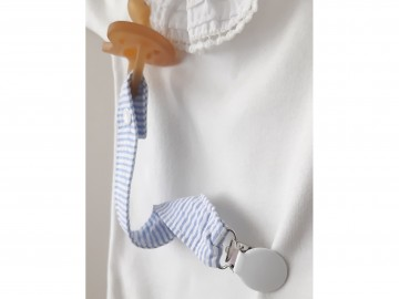 Pacifier Holder | Stripes Cotton Fabric (CHOOSE A COLOR AND CLIP)