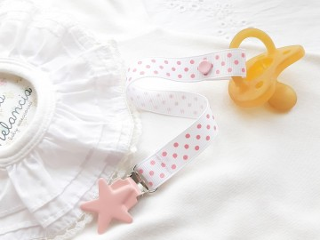 Pacifier Holder | WHITE & PINK DOTS + Pink Star Clip