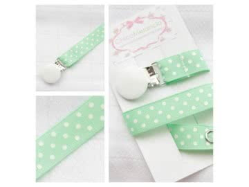 Pacifier Holder | Mint Green Polka + White Clip