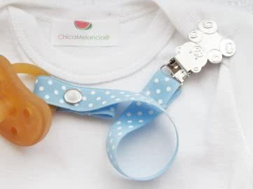 Pacifier Holder | Blue Polka + Bear Clip