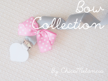 Pacifier Holder | Grey + White Heart Clip + Pink Bow