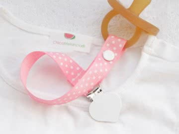 Pacifier Holder | Pink Polka + White Heart Clip
