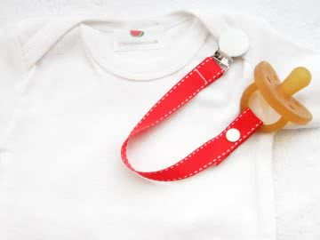 Pacifier Holder | Red White Stich + White Clip