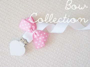 Pacifier Holder | White + White Heart Clip + Pink Bow