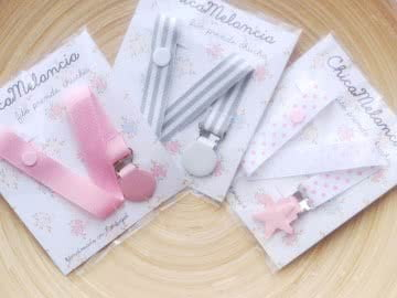 Value Pack: 3 Pacifier Holder | Pink and Grey